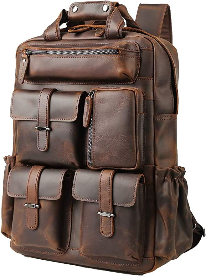 Vintage Travel Multi-Color Wool and Real Leather Backpack