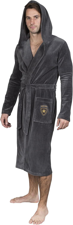 Yugo Sport Mens Robe - Men Plush Bathrobe - Kimono Spa Long Hooded Robes for Men