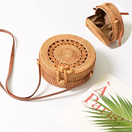 Beach handbags Round Bamboo Bag Handbag for Women Summer Woven Bali Rattan Bags Handmade Beach creative gift