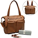 Miss Fong Leather Diaper Bag for Moms with Chaining pad,Wipes Pouch, Stroller Straps and Insulated Bottle Pocket (Brown)
