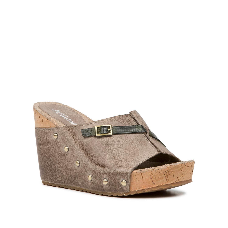 Antelope Women's 729 Grey Leather Dark Bottom Crisscross Sandals 40