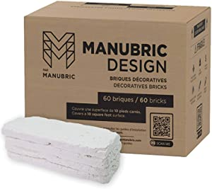 Manubric – 60 Thin Bricks (10 Sq. Ft.) – Easy to Install Luxurious 3D Brick Wall for Interior Decoration - Low Cost Fire Resistant Brick Veneer – Faux Bricks Same Texture As Real Bricks (Oslo)