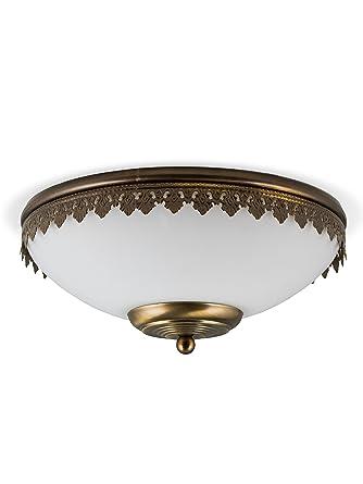 Helios Leuchten 104122 Klassische Jugendstil Deckenleuchte Deckenlampe Lampe Leuchte Echt MESSING Bronziert 2 X E27