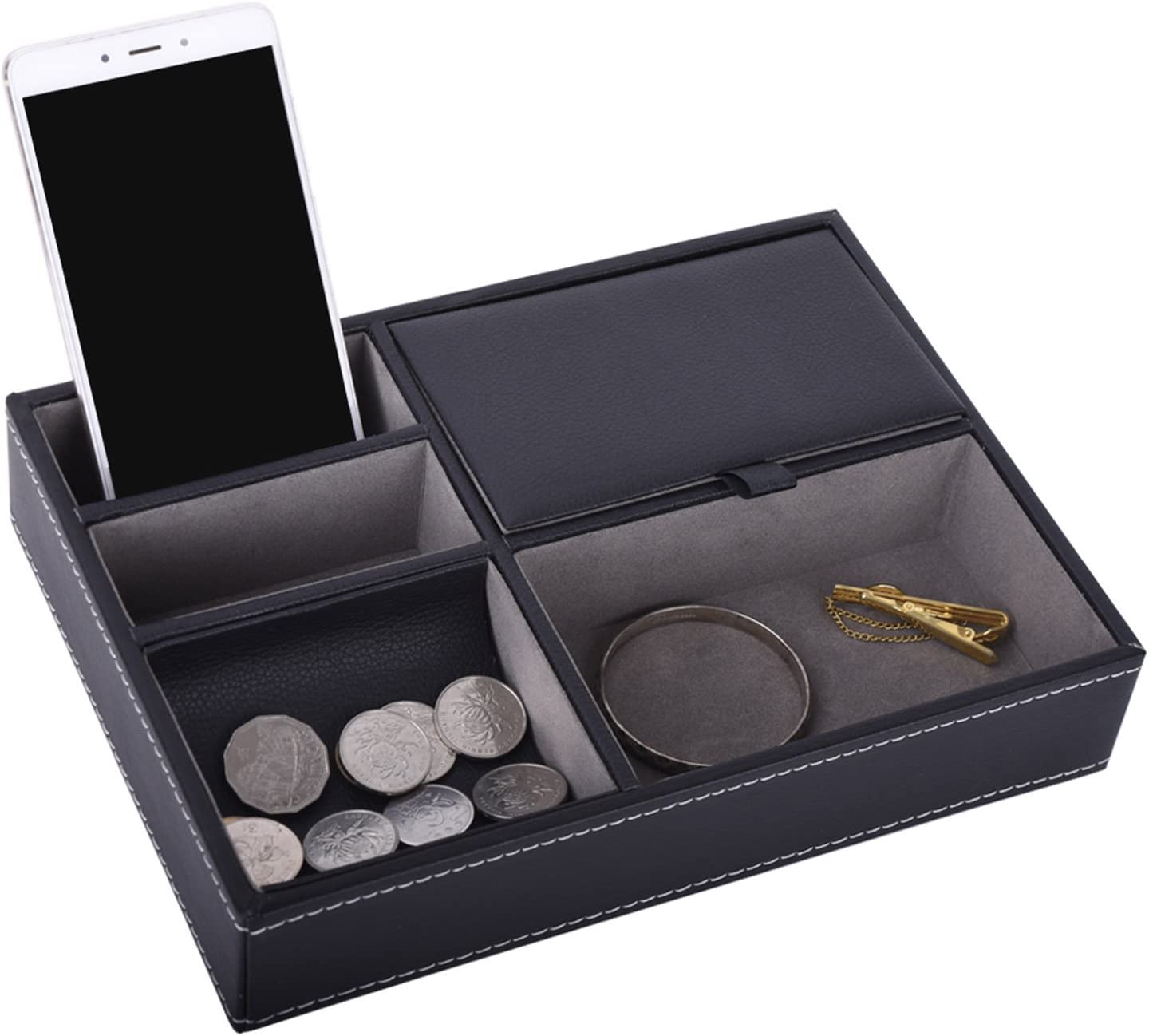 AUTOARK Leather 5 Compartments Valet Tray – Desktop Organizer for Keys,Coins,Wallet,Smartphone,Watches,Sunglasses and Accessories,Black,AW-028