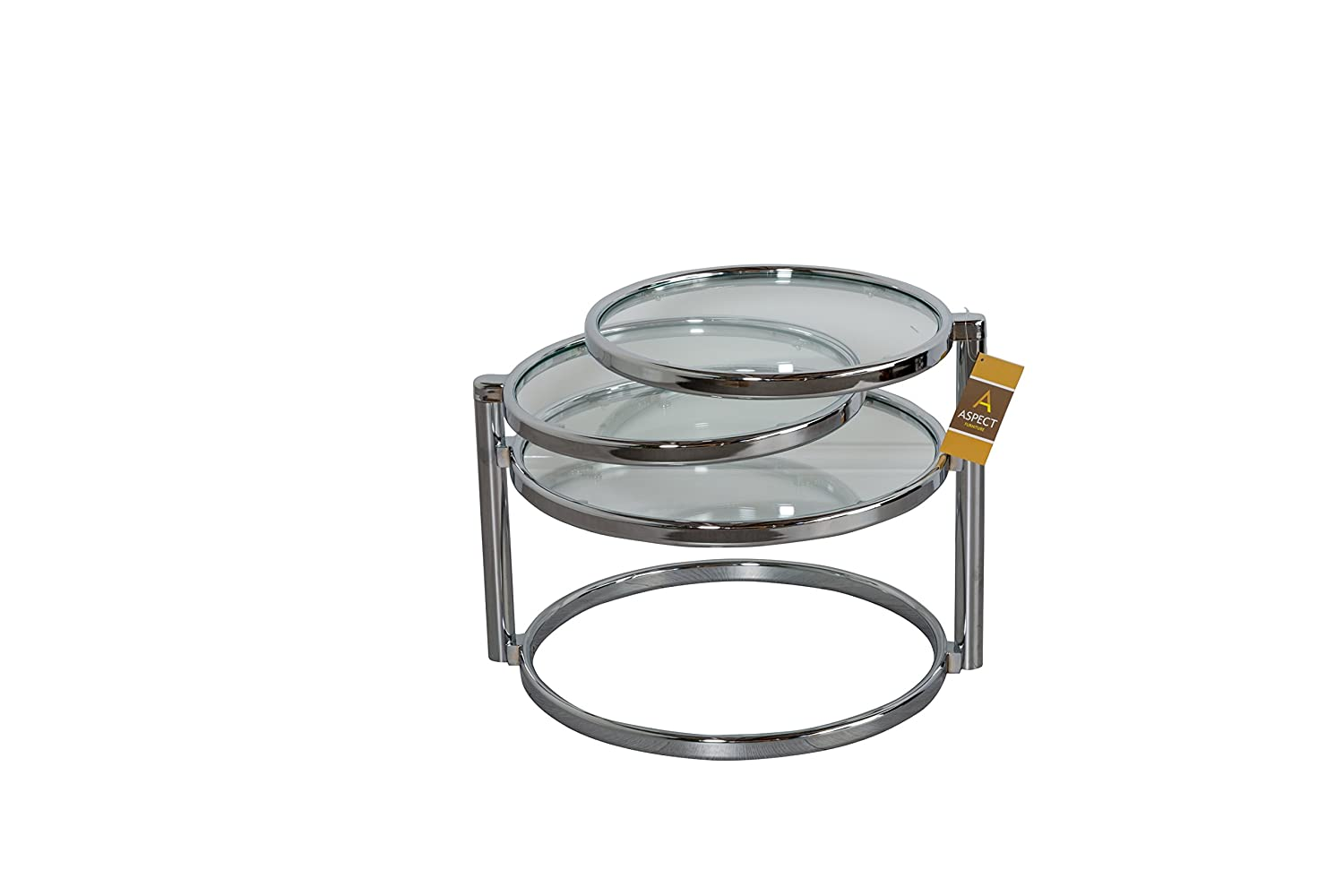 ASPECT Eternity Coffee Table with Swivel Motion, Metal, Chrome/Clear CT11C