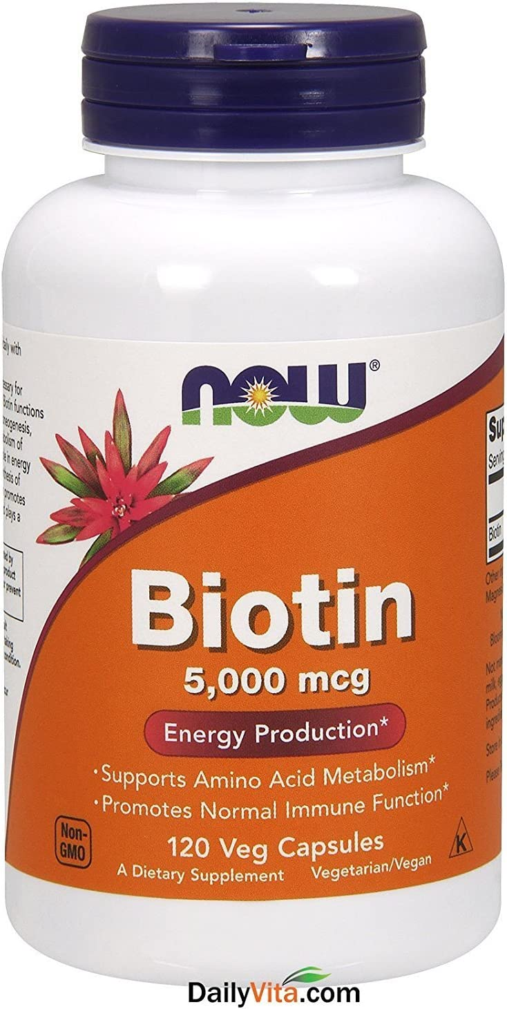 NOW Foods by Now Biotin Energy Production 5000 mcg- 120 Vcaps