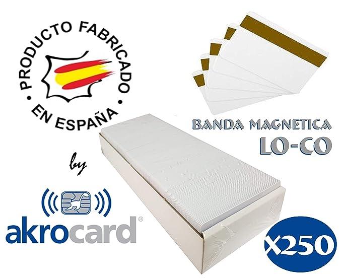 Pack 250 - Tarjeta pvc BLANCA con banda magnética LO-CO (baja densidad) - formato estándar ISO CR80 (86x54mm), de 0,76mm de grosor para imprimir ...