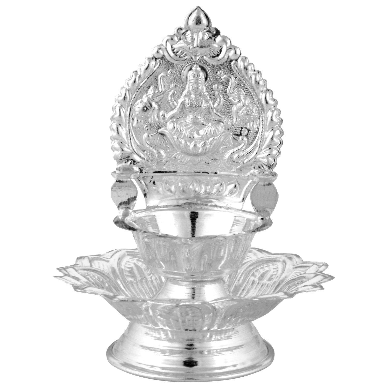 Buy Silverslane Silver Kamatchi Deepam With Lotus (L x B x H -8.5 x ... for Silver Kamatchi Lamp  545xkb