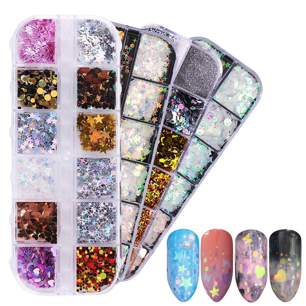 4 Sets Dazzling Nail Glitter - Mixed Sequins Nail Dust, Iridescent DIY Flake Nail Art Mirror Mermaid Shimmer Effect Nail Decoration (48 Grids) by YALFEN