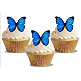Lot de 12 décorations comestibles pour gâteaux en forme de papillons bleus - 12 x 55mm