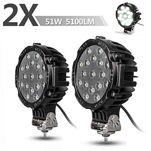 "2PACK 7"" LED Offroad Pod Lights Bar 51W with Mounting Bracket, Black Round Spot Bumper Driving Lamp Headlight Fog Light for Offroader, Truck, Car, ATV, SUV, Jeep, Construction, Camping, Hunters"