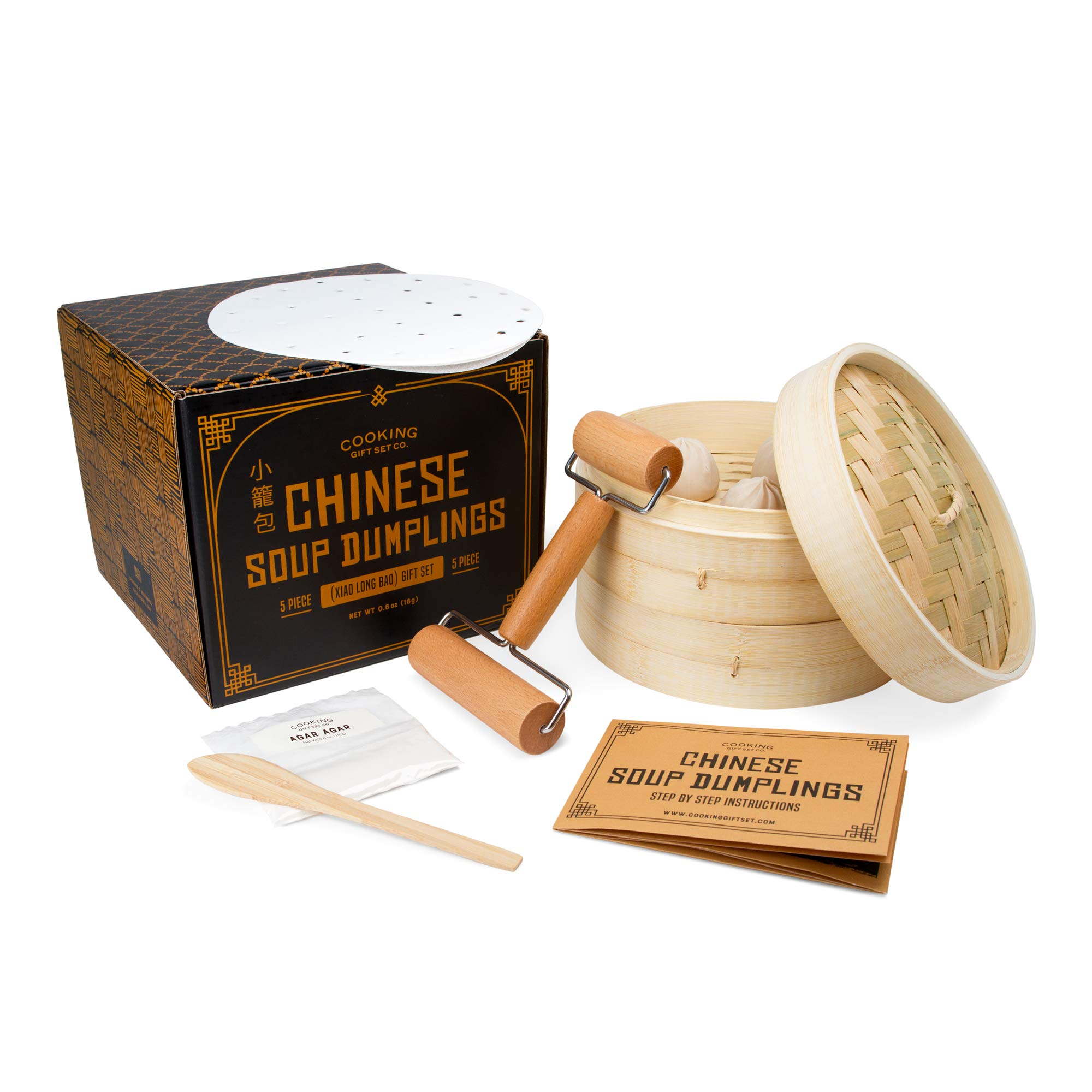 Cooking Gift Set | Chinese Soup Dumpling Bamboo Steamer Basket Set (5 PC) | Dumpling Maker for Unique Gifts for Mom, Housewarming Gifts for New Home, and Gifts for Men by Cooking Gift Set