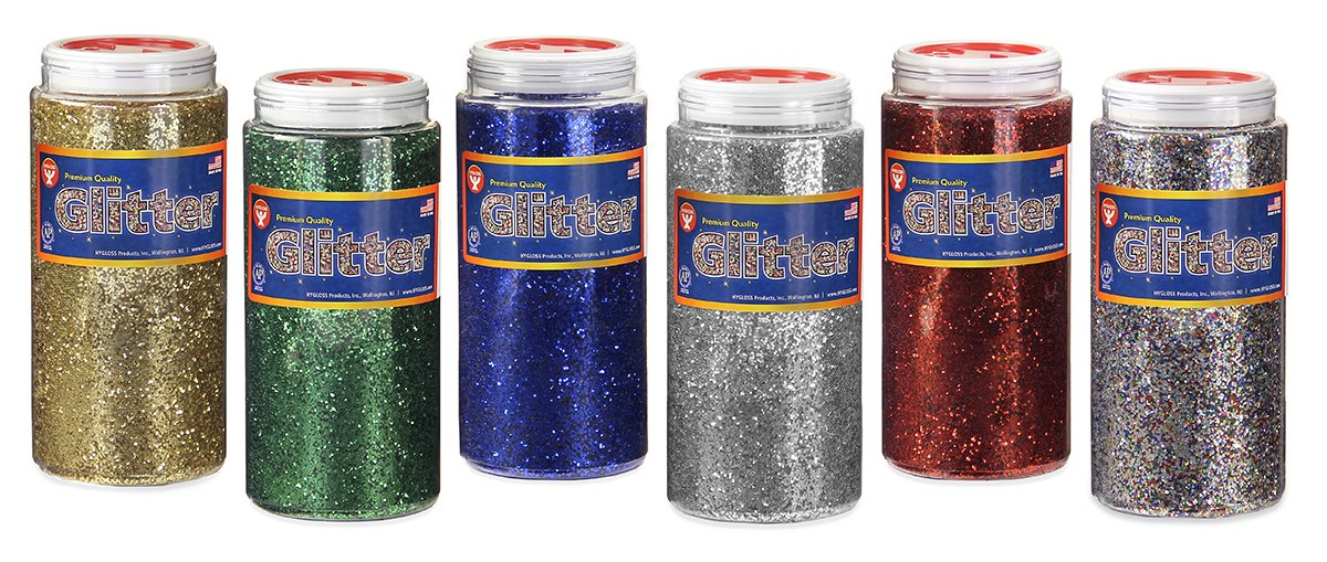 Hygloss Products Shiny Glitter for Slime, Arts & Crafts, Assorted Colors, 16 oz, 6 Bottles