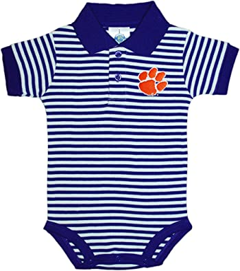 Clemson University Tigers Newborn Striped Polo Bodysuit