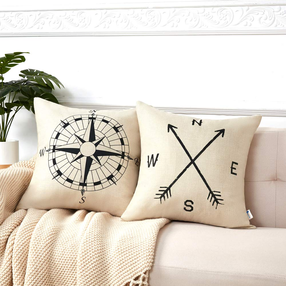 Anickal Set Of 2 Modern Decorative Nautical Arrow Compass Decorative Throw Pillow Covers Cotton Linen Pillow Cases 18 X 18 For Summer Home Decor Buy Online In Grenada At Grenada Desertcart Com Productid 52565360