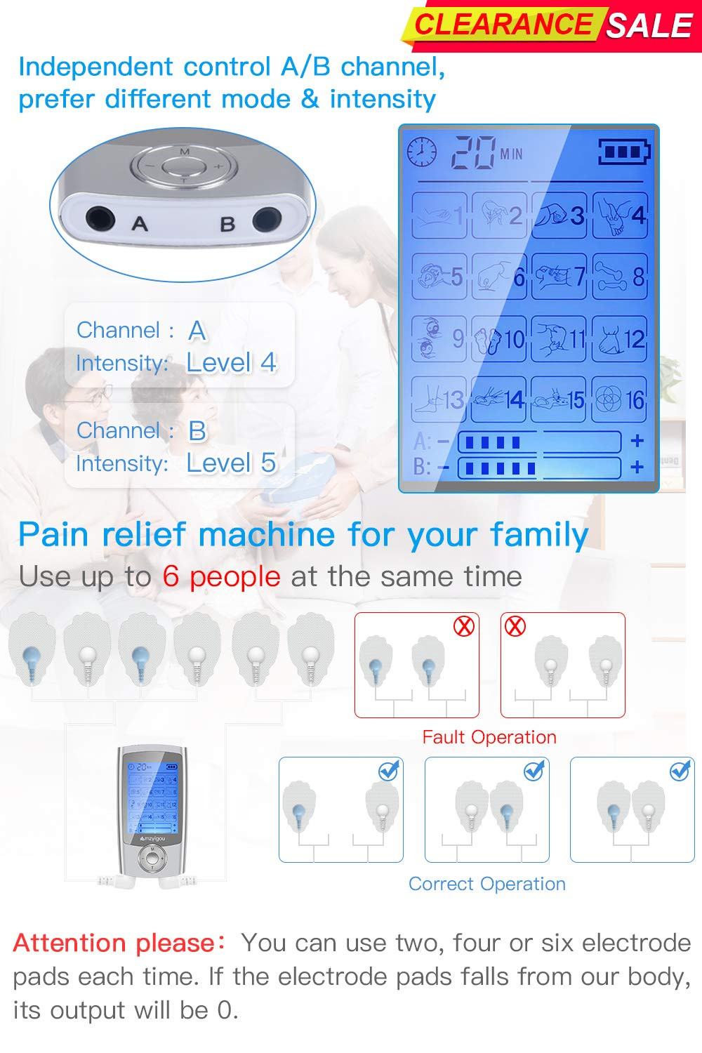 electrotherapy electrodes Muscle Stimulation Neck Massage White Ischia Pain Massager 16 Modes and 2 Output Channels for The Treatment of Kinks on The Back Shoulders electrostimulation