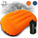 Agile Gear Camp Pillow - Inflatable Ultralight Camping and backpacking sleeping pillow - Compact Soft Compressible, Packable, Ergonomic neck and lumbar support for travel by