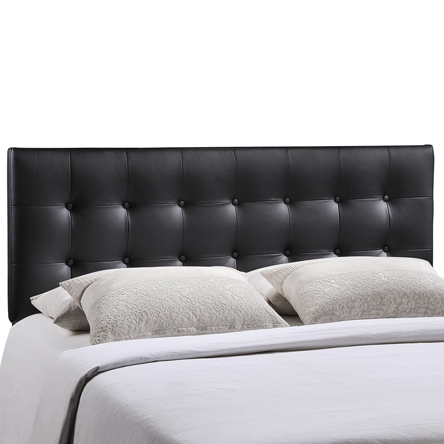 Black Vinyl Queen Modway Emily Twin Vinyl Headboard, White