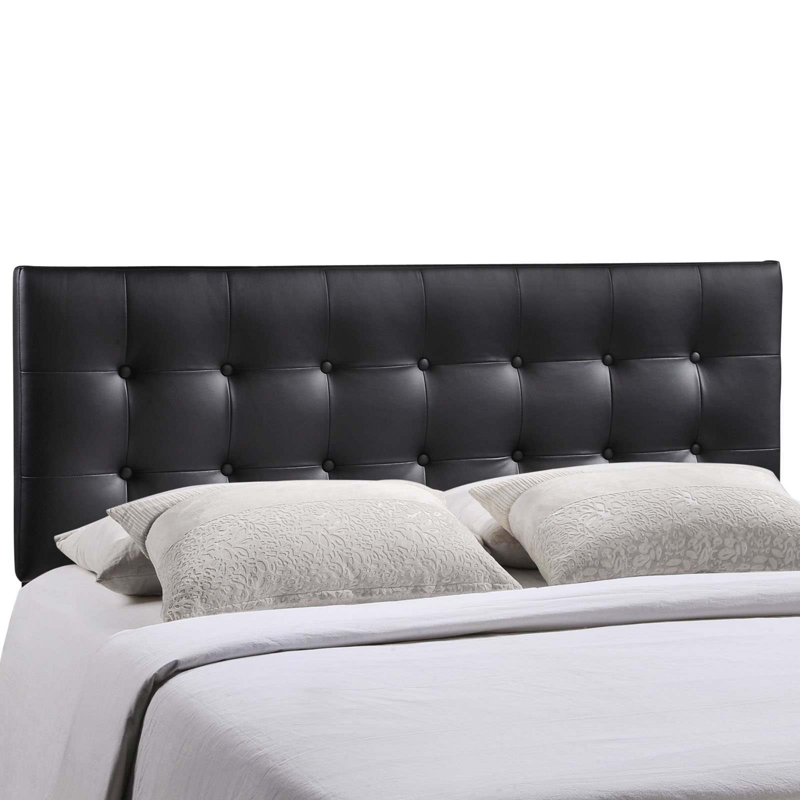 Modway Emily Upholstered Tufted Button Fabric Queen Size Headboard In Black by Modway