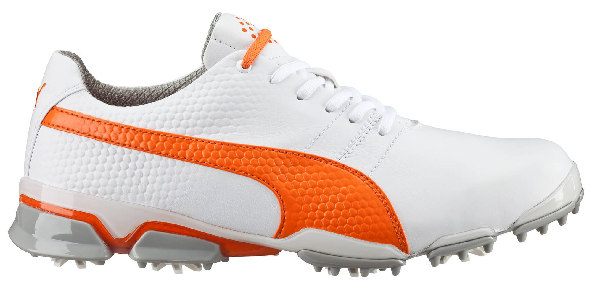 PUMA Men's Titantour Ignite Golf Shoe, White/Vibrant Orange, 10.5 M US by PUMA