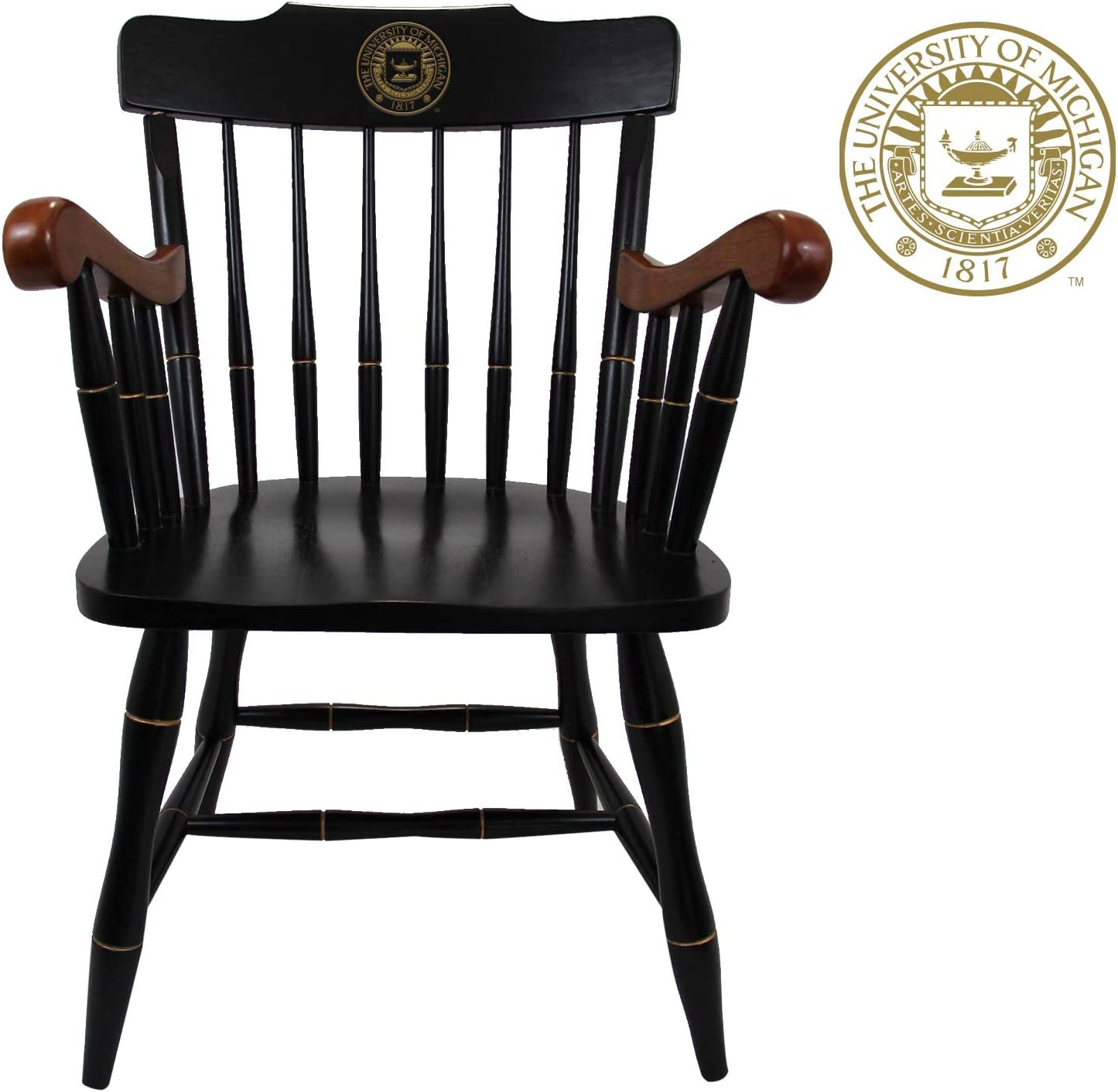Michigan Wolverines Captain's Office Desk Chair, Black Crown with Cherry Arms