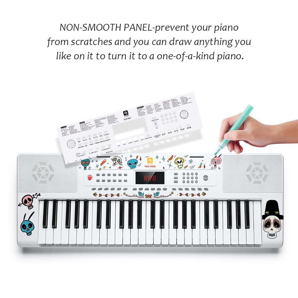 Electronic Keyboard Piano, 49-Lighted Key Electric Piano Keyboard with 3 Teaching Mode, Microphone, 200 Tones, 200 Rhythm, 50 Demo Songs, 5 Percussion, White by Vangoa (Image #5)