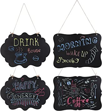 Amazon Com Winomo Chalkboard Sign Double Sided Hanging Chalkboard Mini Message Signs Board 4pcs With Hanging Strings And Cleaning Cloth Office Products