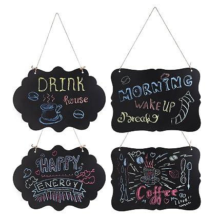 WINOMO 4pcs Pequeña Pizarras de Madera Mensajes Signos DIY Pizarras de Doble Cara Colgantes con Paño de Limpieza