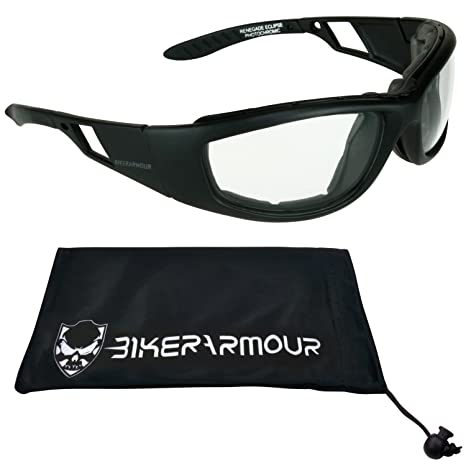 2c2fbed6484 Amazon.com  Motorcycle Riding Transitional Glasses Foam Padded for Men    Women. Photochromic Lenses