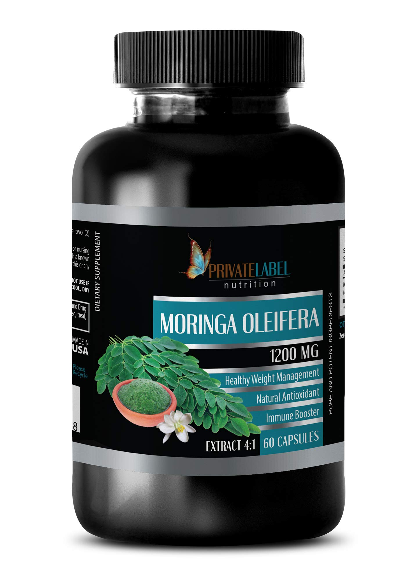 Brain and Memory Power Boost - Moringa OLEIFERA Extract 4:1 1200MG - Moringa Green Energy - 1 Bottle (60 Capsules) by PRIVATE LABEL LLC