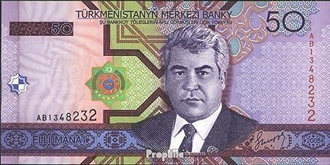 Banknoten f/ür Sammler Turkmenistan Pick-Nr 17 2005 50 Manat