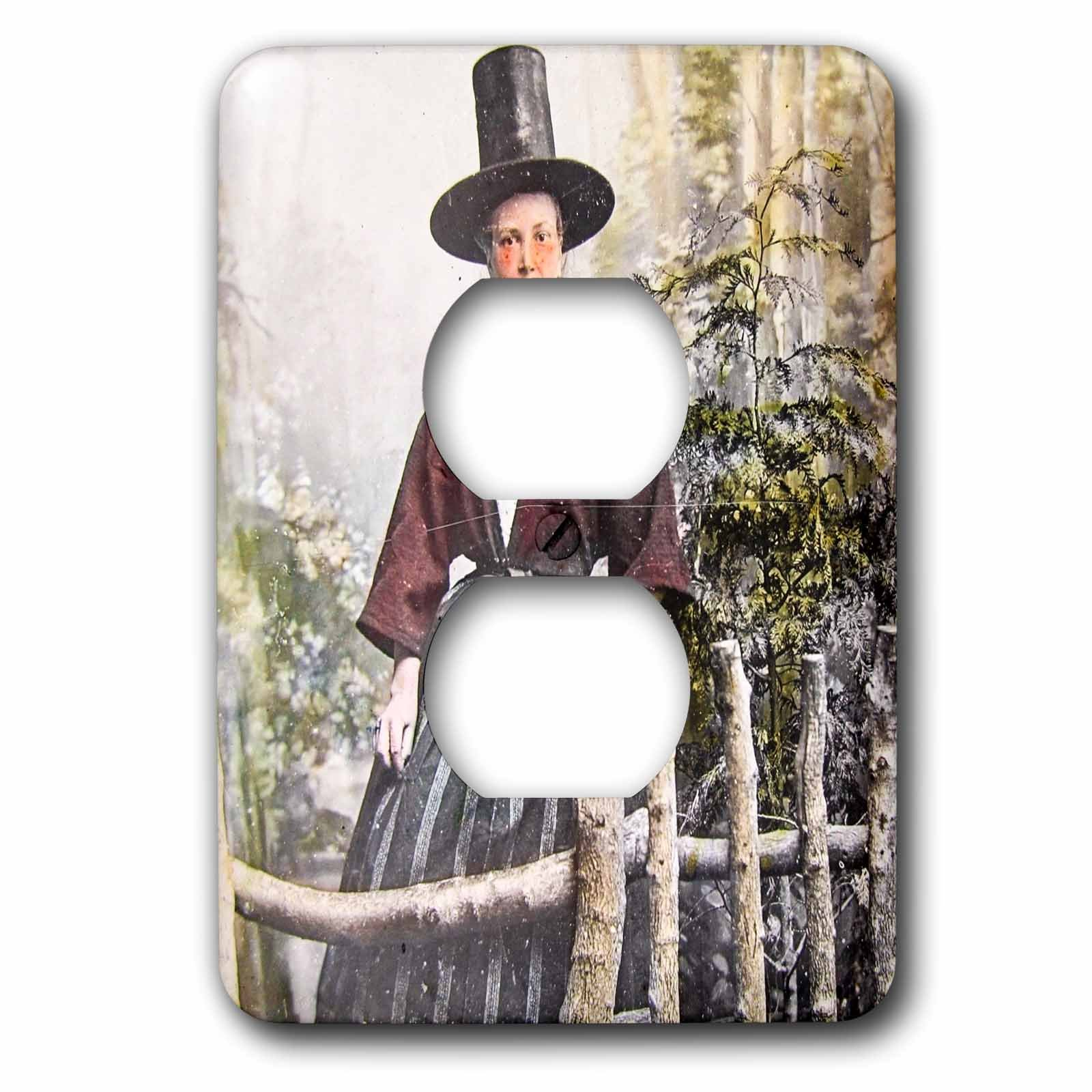 3dRose Scenes from the Past Magic Lantern Slides - Welsh Woman in Traditional Dress Circa 1890s Wales - Light Switch Covers - 2 plug outlet cover (lsp_269965_6)