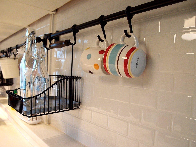Azulejos 3D autoadhesivos, con purpurina, de poliuretano, para azulejos de cocina y baño, para decorar, proteger y crear, 27,94 x 22,86 cm, color blanco, ...
