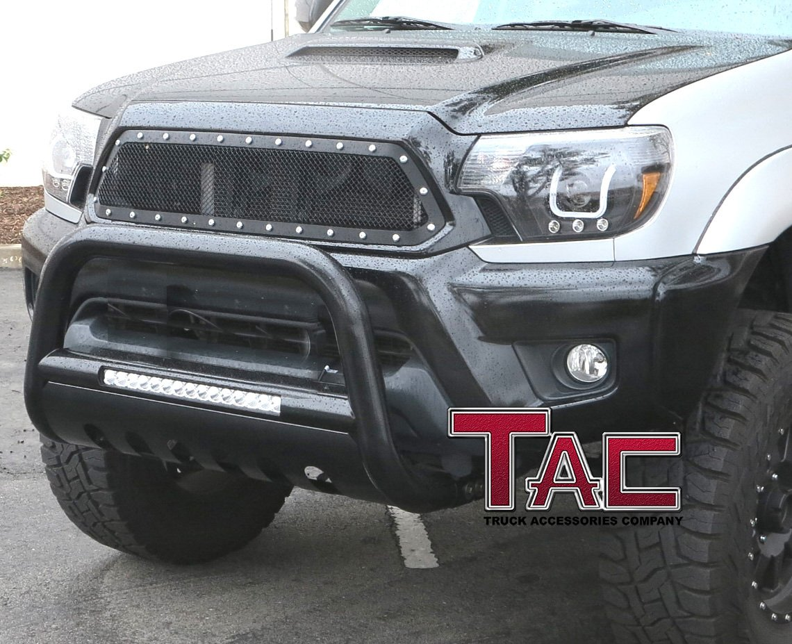 TAC LED Lighting Bull Bar Fit 2016-2019 Toyota Tacoma Pickup Truck 3 inches Black Front Brush Bumper Guard Grille Guard Push Guard with LED Off-Road Lights Exterior Accessories