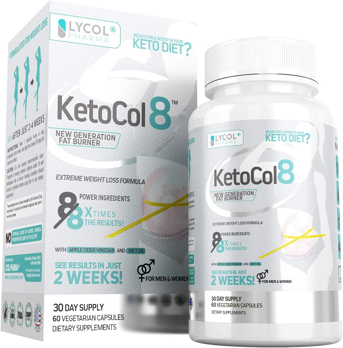 KetoCol8 Keto Pills with Apple Cider Vinegar Capsules BHB Salts for Women and Men 15 Billion CFU Ultimate Keto Diet Supplement Triggers Ketosis Boost BHB Production and Utilizes Fat for Energy