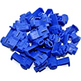MUYI 100 Pcs Blue Electrical IDC 0.75-2.5mm2 Wire Connector Double Run or Tap Flame Retardant 18–16 AWG (Solid/Stranded…