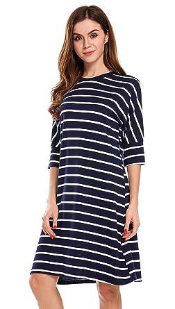 SimpleFun Womens Half Sleeve Dress O Neck Blue Striped Loose Tunic Tee  Shirt Dress (XL 353f733f9