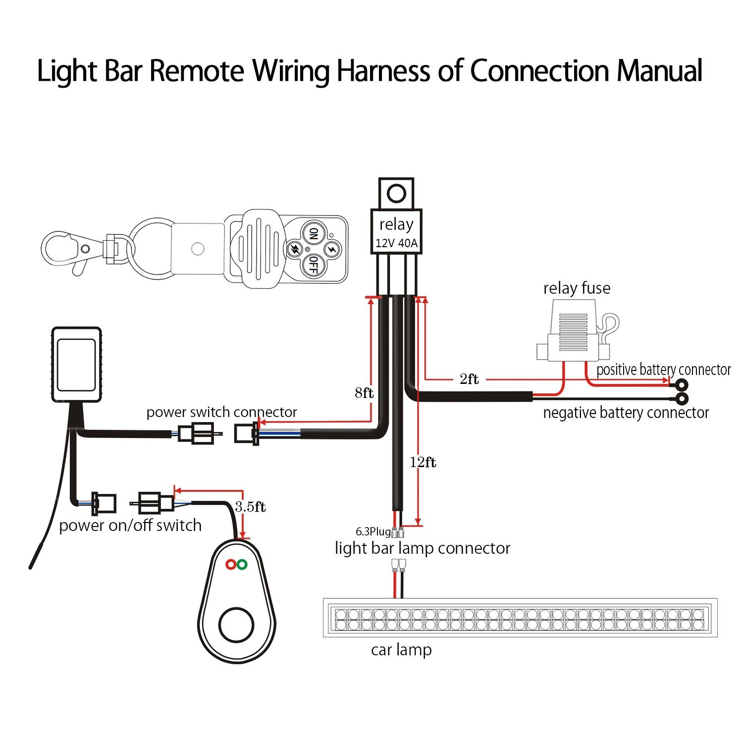 Jhe Led Light Bar Remote Wiring Harness Kit With 1929 Dodge Diagram Control Switch 12v 40a Relay On Off Wired 14awg Support 300w