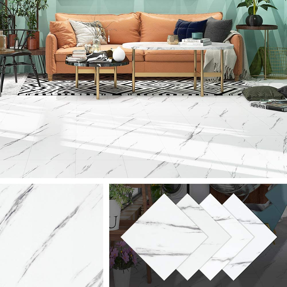 Livelynine Peel and Stick Floor Tile Stickers Waterproof Flooring Tile White and Black Marble Vinyl Tiles for Kitchen Bedroom 12x12 Inch 4 Pack