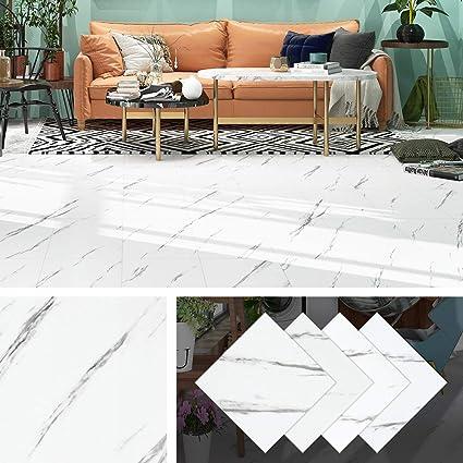 Livelynine Dalle Pvc Adhesive Sol 30x30cm Adhesif Lino Sol Marbre Blanc Carrelage Adhesif Sol Vinyle Pour Cuisine Salle De Bain 4 Piece Amazon Fr Cuisine Maison
