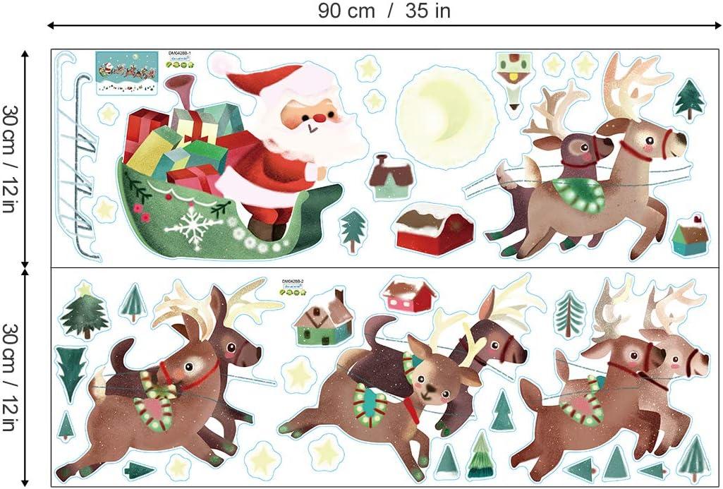 decalmile Pegatinas de Navidad Copos de Nieve Pegatinas de Pared Calcoman/ías de Ventanas Escaparate Tienda Navidad Decoraci/ón Oro y Plata