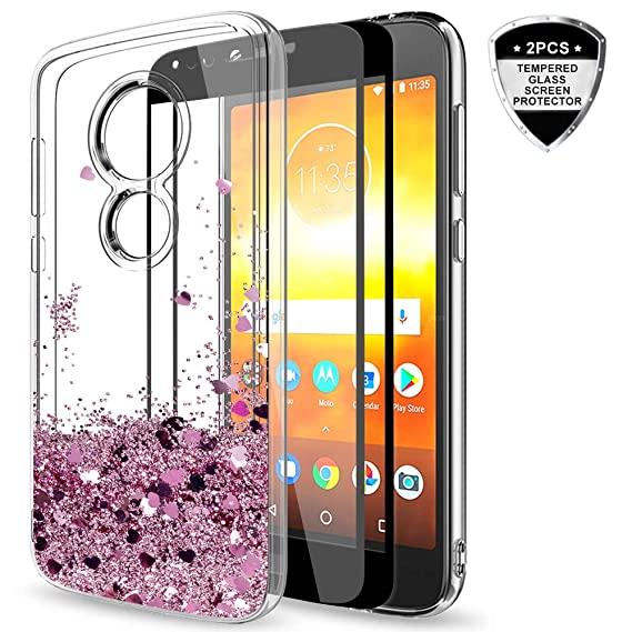 new arrival c4e94 c3e8f Moto E5 Play Glitter Case,Moto E5 Cruise Case with Tempered Glass Screen  Protector [2 Pack] for Girls Women,LeYi Bling Liquid Protective Phone Case  ...