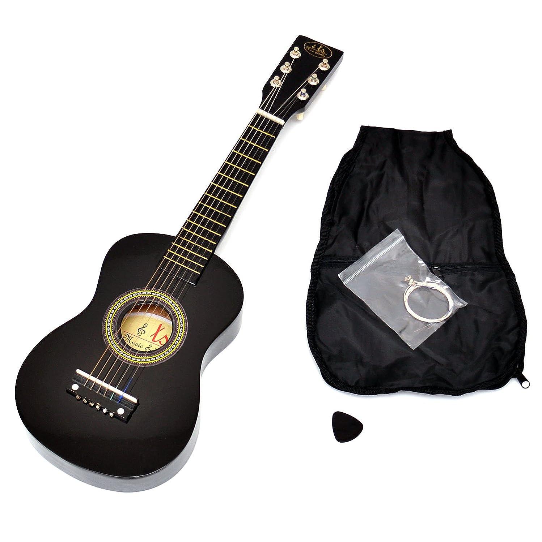 Ts-ideen Kinder Gitarre Spielzeuggitarre aus Holz 59 cm ab 3 Jahre mit Tasche und Ersatzsaiten schwarz 5204
