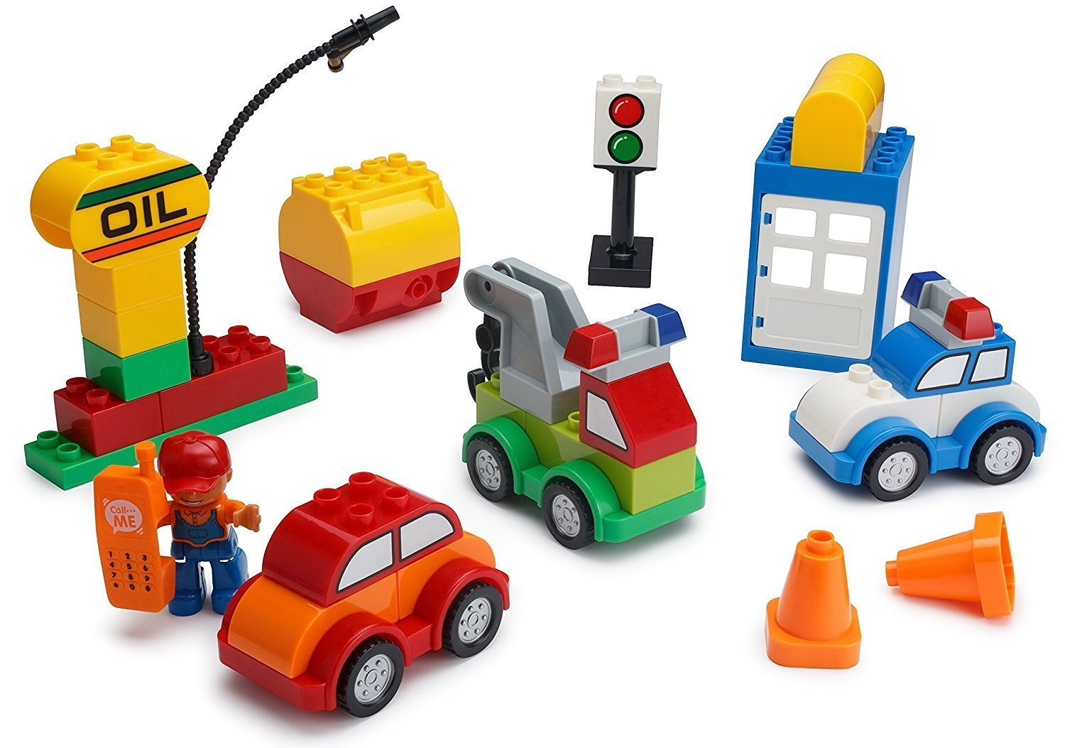 Play Build Car Creator Building Blocks Set – 52 Pieces – Includes Mechanic Minifigure, Garage Accessories & Base Parts to Create a Police Car, Oil Rig, Tow Truck & More – Compatible with DUPLO Review