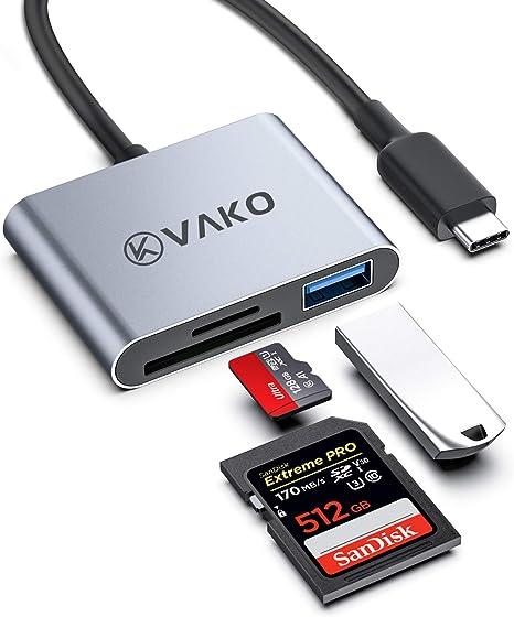 VaKo USB C Lector de Tarjetas 3 en 1 USB Tipo C SD Card Reader, SD/