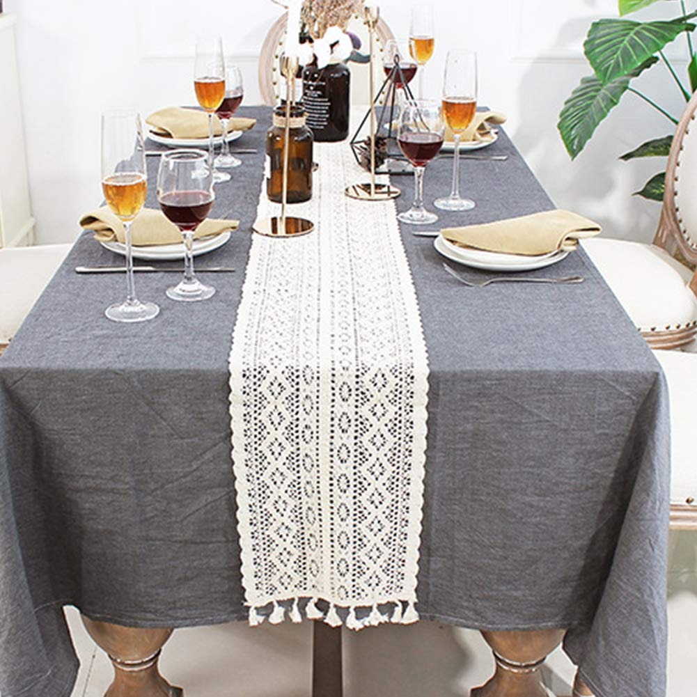 sala da pranzo cucina matrimoni Runner da tavola in cotone macram/è con nappe in pizzo Come da immagine casa compleanni 24x160cm per feste a tema
