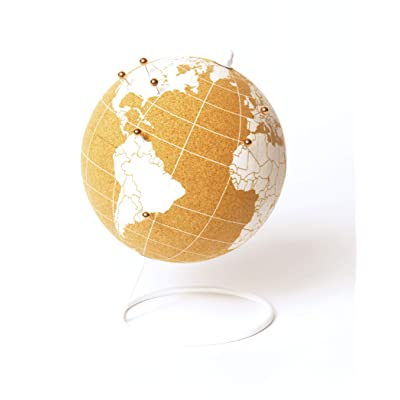 ITA's - Cork Globe Travel Tracker with Silver Push Pins | Stainless Steel Base | Great for Mapping Travels | Personalized World Map Tracker | Vacation Map | Push Pin World Map | (White/Silver Pins): Office Products