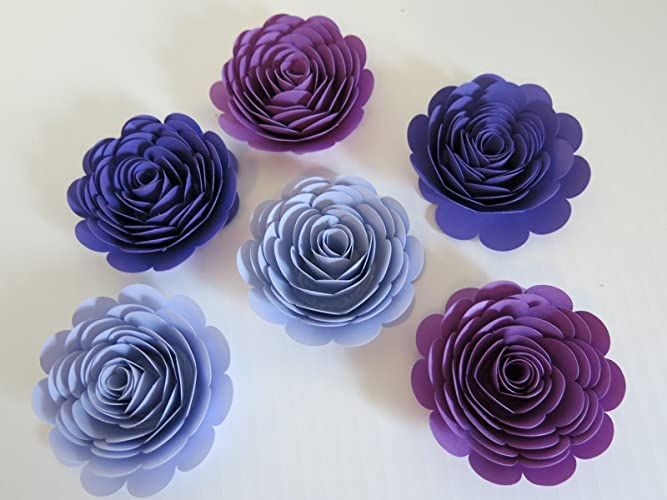 Amazon purple ombre paper flowers big 3 roses set of 6 purple ombre paper flowers big 3quot roses set of 6 wedding table mightylinksfo