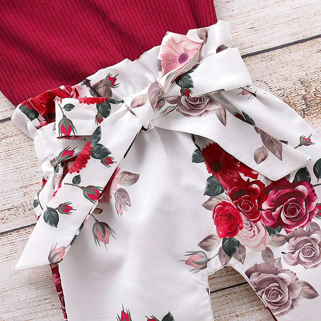 Pantalon Floral Bande De Cheveux Vetement Baohooya Ensemble Bebe Fille 0-18 Mois Hiver 3Pcs Costume Manches Longues Couleur Unie en Trois Dimensions Ligne Top Wraps
