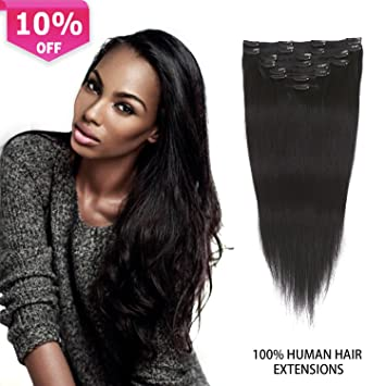 Amazon clip in extensions black human hair thick clip in clip in extensions black human hair thick clip in hair extensions for black women remy human pmusecretfo Choice Image